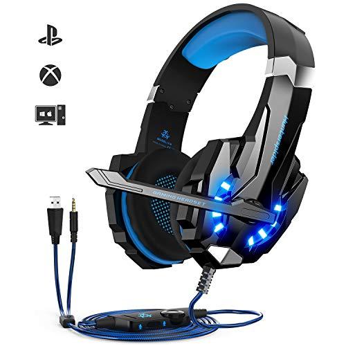 Auriculares Gaming PS4,Cascos Gaming, Auriculares Cascos Gaming de Mac Estéreo con Micrófono Juego Accesorios informática