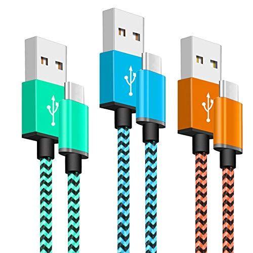 Cable USB Tipo C [3 Pack 1M] Cable Cargador Tipo C De Nylon Carga Rápida Movil Tipo C USB Cargador Accesorios informática