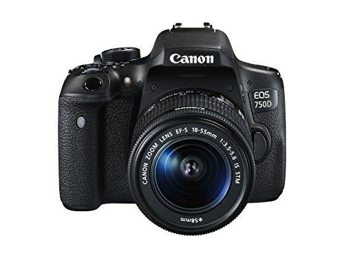"Canon EOS 750D - Cámara réflex digital de 24.2 Mp (pantalla 3"", estabilizador óptico, vídeo Full HD), color negro - Kit con objetivo EF-S 18-55 mm IS STM"