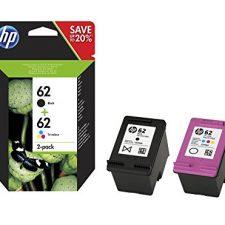 HP N9J71AE 62 Cartucho de Tinta Original, 2 unidades, negro y tricolor (cian, magenta, amarillo) Material de Oficina y Papelería