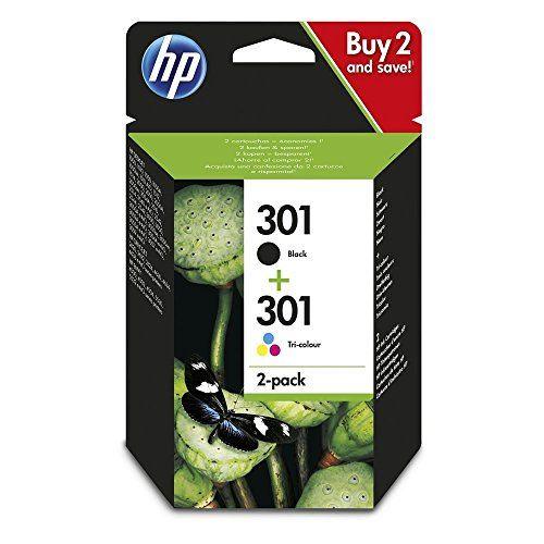 HP N9J72AE 301 Cartucho de Tinta Original, 2 unidades, negro y tricolor (cian, magenta, amarillo) Material de Oficina y Papelería