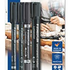 Staedtler Lumocolor permanent 60 BK Juego de rotuladores permanentes con diferentes puntas, 4 Material de Oficina y Papelería
