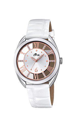 Reloj cuarzo Lotus Para Mujer Con  Plata  Y Blanco Cuero 18224/1 Relojes