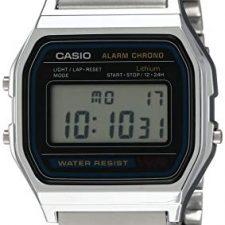 Casio A158WA-1DF – Reloj Unisex metálico Negro / Plata Relojes