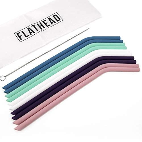 flathead pajitas de silicona reutilizables rectas juego de compatible