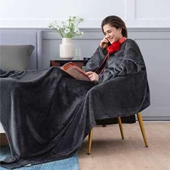 Bedsure Batamanta Polar Mujer Sofa - Manta con Mangas y Bolsillo Hombre...