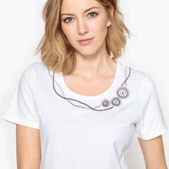 Camiseta con cuello redondo, 100% algodón