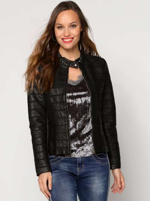 Cazadora motera mujer bimateria forrada con cremallera y bolsillos negro