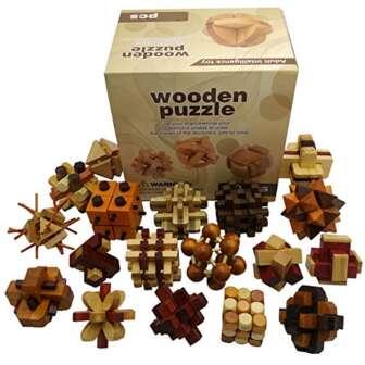 Chonor 18 Piezas 3D Rompecabezas de Madera del Enigma Juego Puzle #1...