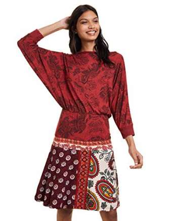 Desigual Dress Indira Vestido, Rojo (Borgoña 3007), XXL para Mujer