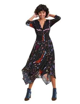 Desigual Dress Jana Vestido, Negro (Negro 2000), 42 para Mujer