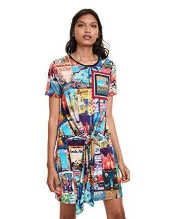 Desigual Postcards Dress Vestido, Multicolor (Tutti Fruti 9019), L para Mujer