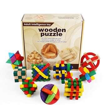 Joyeee 9 Piezas Cubo 3D Rompecabezas de Madera Juego Puzle #1 -...