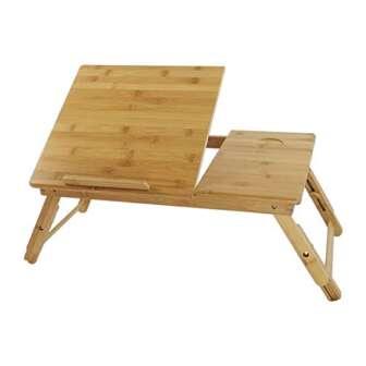 KKTONER Mesa de escritorio para ordenador portátil con patas ajustables 100% bambú...