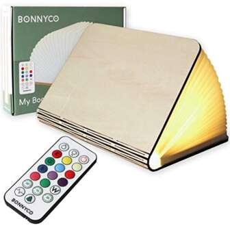 Lampara Libro Plegable de Madera con Mando, 12 Colores y Temporizador –...