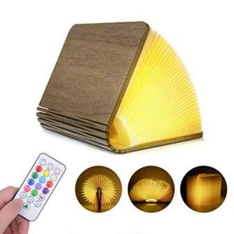 Lámpara de Libro Recargable con Mando Lámpara Libro Portatil de Madera con...