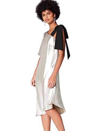 Marca Amazon - find. Vestido Midi Asimétrico Mujer, Plateado (Silber), 40, Label:...