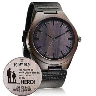 Reloj de madera con grabado personalizado, informal, hecho a mano, para hombres,...