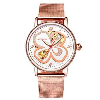 RORIOS Fashion Mujer Relojes de Pulsera Mecánico Automático Esqueleto Dial Acero Inoxidable...