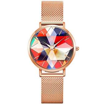 SHENGKE Estrella Relojes para Mujer Reloj Damas de Malla Impermeable Elegante Banda...
