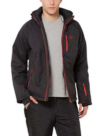Ultrasport Everest, Chaqueta Softshell para hombre, Negro/Rojo, XL