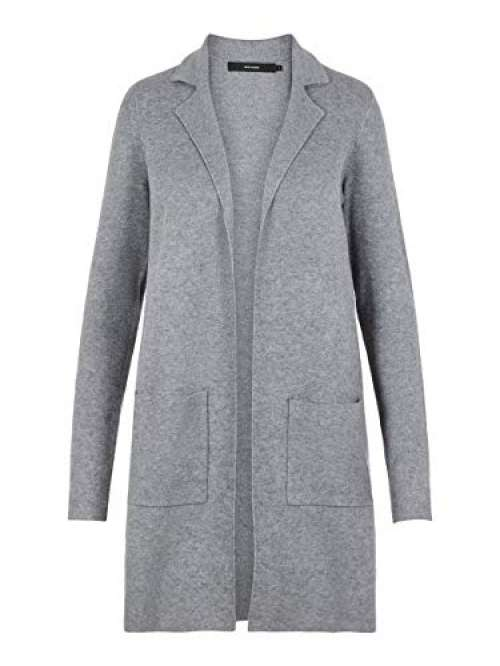 Vero Moda Vmtasty Fullneedle LS New Coatigan Noos Abrigo, Gris (Medium Grey Melange Medium Grey Melange), 36 (Talla del Fabricante:...