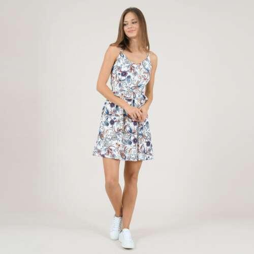 Vestido evasé corto y flores, escote en la espalda blanco/azul/naranja MOLLY BRACKEN