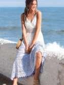 Vestido ibicenco encaje bicolor blanco/azul M