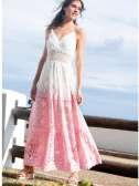 Vestido ibicenco encaje bicolor blanco/rosa S