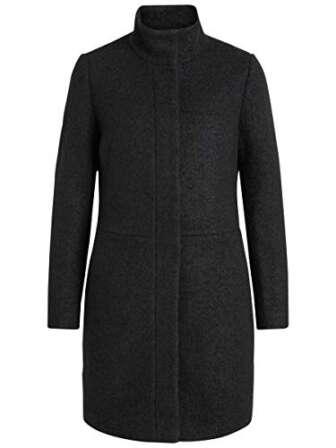 Vila Clothes Vialanis Coat-Noos Abrigo, Negro (Black Black), 42 (Talla del fabricante:...