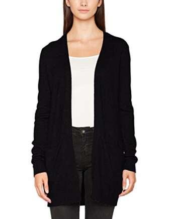 Vila Clothes Viril L/s Open Knit Cardigan-Noos Chaqueta Punto, Negro (Black), 38...