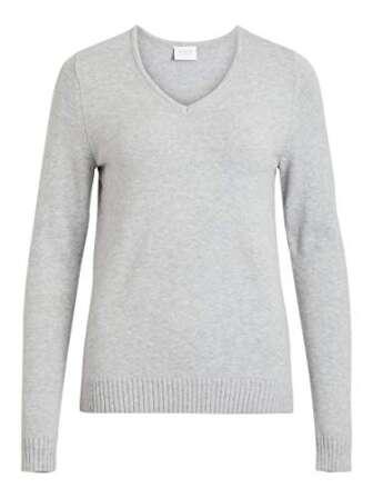 Vila Clothes Viril L/s V-Neck Knit Top-Noos suéter, Gris (Light Grey Melange),...