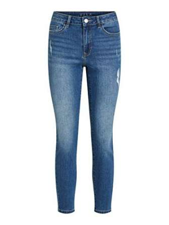 Vila VIEKKO RWSK 7/8 Jeans/SU-Noos, Medio De Mezclilla Azul, XS para Mujer