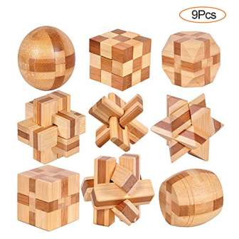 YGZN 9 Piezas Cubo Rompecabezas 3D de Madera del Enigma Juego Puzle...